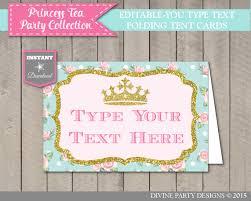 instant download printable editable princess tea party folding