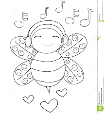 bee listening to music coloring page stock illustration image