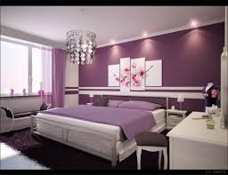 bedroom purple white wall with flowers paint combined with