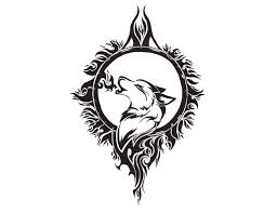crescent moon and wolf tribal 1851373 png 650 500