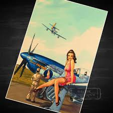pin up girl home decor pink airplane pin up girl vintage retro canvas painting poster diy