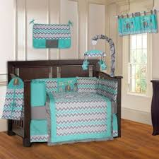 Baby Crib Bed Sets Babyfad Elephant Zig Zag Turquoise And Grey 10 Baby Crib