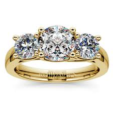 trellis three diamond engagement ring in yellow gold 1 ctw
