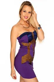 womens clothing bodycon dresses purple strapless color block