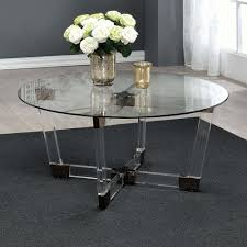coaster 720718 modern round glass top coffee table with chocolate