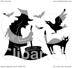 bats images clip art clipart of a black silhouetted witch stirring a cauldron with