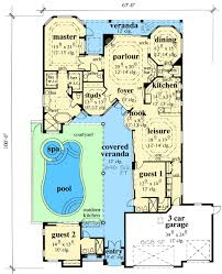 Florida House Plans With Courtyard Pool | courtyard house plans with pool plan w33532eb mediterranean