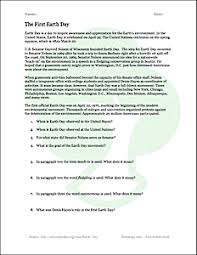 earth day reading comprehension worksheet freeology