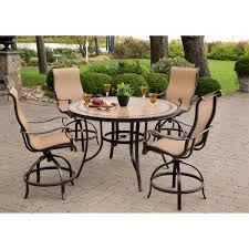Swivel Patio Dining Chairs Monaco 5 Piece High Dining Bar Set With Four Swivel Bar Chairs And