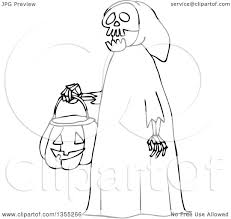 outline clipart of a cartoon black and white halloween skeleton