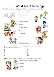 present continuous interactive worksheets