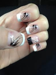 french manicure with black accent nail and design nails done