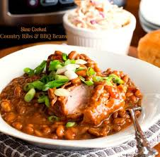 Crock Pot Barbecue Ribs Country Style - easy slow cooked country ribs and barbecue beans