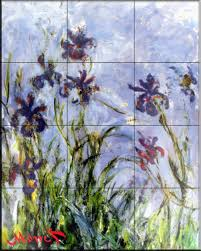 ceramic tile mural irises by claude monet kitchen backsplash