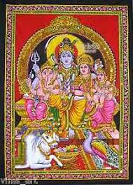 tapestry home decor shiva family ganesha parvati sequin wall hanging tapestry hindu