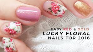 red and gold spring floral nails for 2016 annabel lee youtube