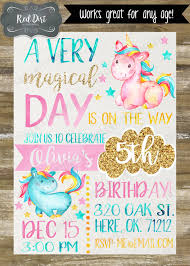 custom unicorn birthday invitation printable invitation magical