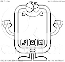 cartoon clipart of a mad smart phone mascot vector outlined