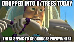 Buzz Lightyear Everywhere Meme - dropped into r trees today there seems to be oranges everywhere