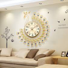Unique Large Wall Clocks Aliexpress Com Buy Diamond Peacock Large Wall Clocks Living Room