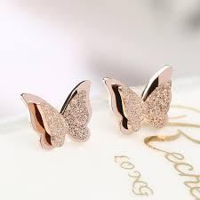 girl earrings frosted butterfly gold plated earring girl earrings