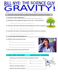bill nye the science guy gravity forces u0026 motion video worksheet
