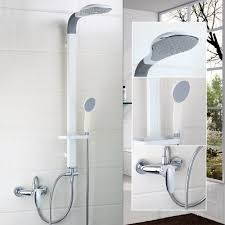 popular rain bathroom shower buy cheap rain bathroom shower lots white pinting bathroom shower set mounted on the wall abs rain shower head bathroom 50254 bathtub