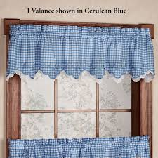 Gingham Curtains Blue Provence Gingham Tier Window Treatment