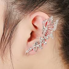 ear cuffs singapore left right ear cuff clip cl earrings 1pc shiny butterfly wings