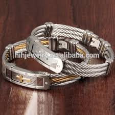 christian bracelet fancy steel wire cross bracelet wholesale 2 tones christian