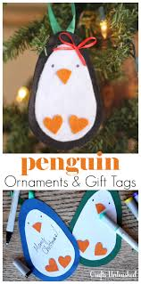 diy ornaments penguin gift tags crafts unleashed