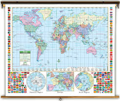 Political Us Map Primary U S U0026 World Political Classroom Map Combination On Spring