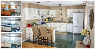 White Kitchen Cabinets White Appliances Kitchen Transformation White Cabinets U0026 Painted Counters With