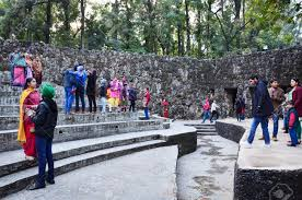Nek Chand Rock Garden by Chandigarh India January 4 2015 People Visit Rock Statues
