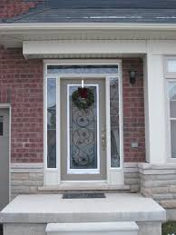 Front Doors With Glass Side Panels Architecture Entry Door With Sidelights With Christmast Ornament