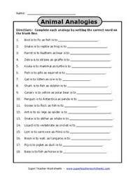 animal analogies 4th 6th grade worksheet lesson planet