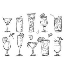 hand drawn sketch cocktail martini vintage vector image