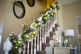 Banister Ball Exciting Green Christmas Garland Feat White Flower Also White