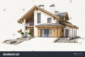 3d rendering modern cozy house chalet stock illustration 674100247
