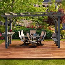 5 Ft Patio Swing With Cedar Pergola Create by Backyard Discovery Oasis Pergola With Barnstain Finish 14 U0027 X 10
