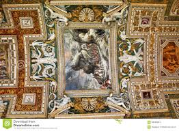 the ceiling of the gallery of maps vatican museum editorial stock