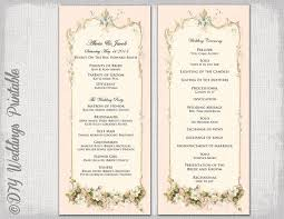 vintage wedding program template printable wedding program template
