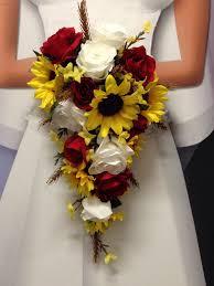 new wheat wedding flowers western sunflower red rose bouquet