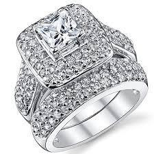 princess cut cubic zirconia wedding sets 925 sterling silver princess cut cubic zirconia wedding ring set