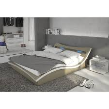 Schlafzimmerm El Betten Polster Bett 140x200 Cm Orange Aus Kunstleder Mit Blauer Led