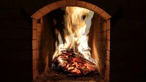 crackling fireplace burning w snow storm u0026 howling wind outside