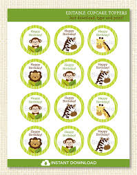 safari cake toppers safari jungle animals cupcake toppers baby shower stickers labels