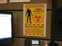 biohazard warning zombie quarantine decorate my cubicle