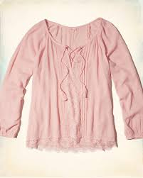 light pink top women s hollister stores online hollister lace up peasant long sleeve top
