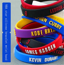 hand rubber bracelet images Fashion causal sport silicone rubber bands with nba star logo jpg